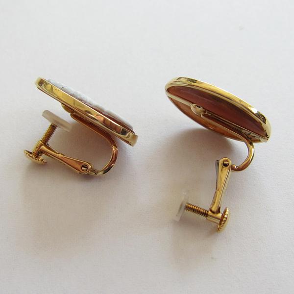 K18YGシェルカメオイヤリング  ECO Jewelry
