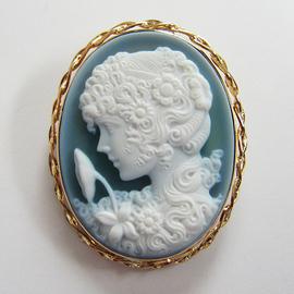K18YGカメオ メノー ペンダント&ブローチ兼用  ECO Jewelry