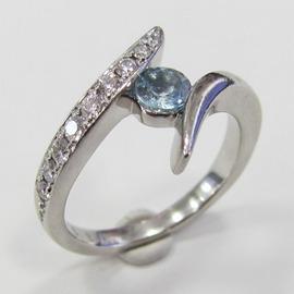 PT900アクアマリンリング ECO Jewelry