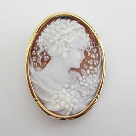 K18YGシェルカメオ ペンダント&ブローチ兼用 ECO Jewelry